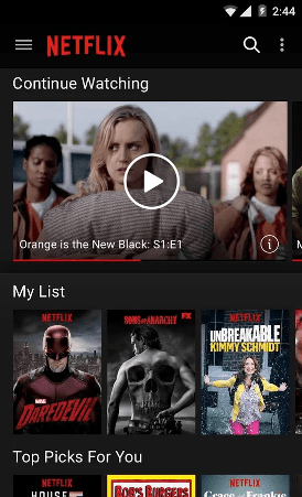 Netflix mobile screenshot