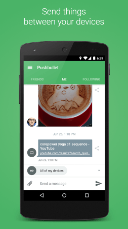 Pushbullet mobile screenshot