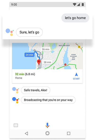 Phone screen displaying Google Assistant feature on android one
