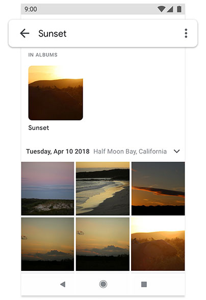 Phone screen displaying Google Photos feature on android one
