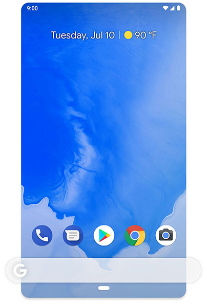 Phone screen displaying easy-to-use, clutter-free home screen on Android One